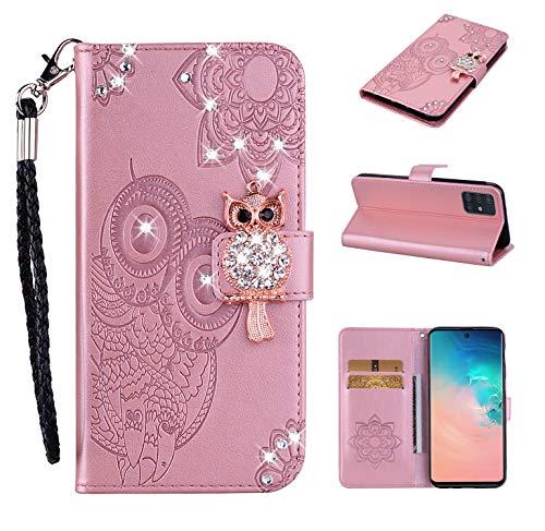 Custodia Portafoglio per iPhone 7 Plus 8 Plus Glitter Bling Brillantini 3D Flip Cover in Pelle aLibro Case per Donna Ragazza Uomo - Gufo Oro Rosa