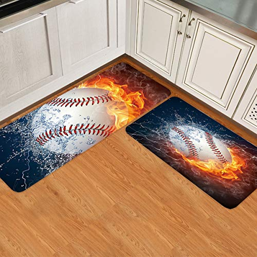 IDOWMAT Kitchen Rugs Set of 2 Tennis in Water and Fire Kitchen Rugs and Mats Non-Slip Washable Low Profile Doormats Home Decor Indoor Floor Mats for Entryway Sink Stove Kitchen Office