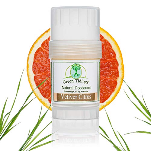 Green Tidings Natural Deodorant - Vetiver Citrus 1 oz. - Extra Strength, All Day Protection - Vegan - Cruelty-Free - Aluminum Free - Paraben Free - Non-Toxic - Solid Lotion Bar Tube