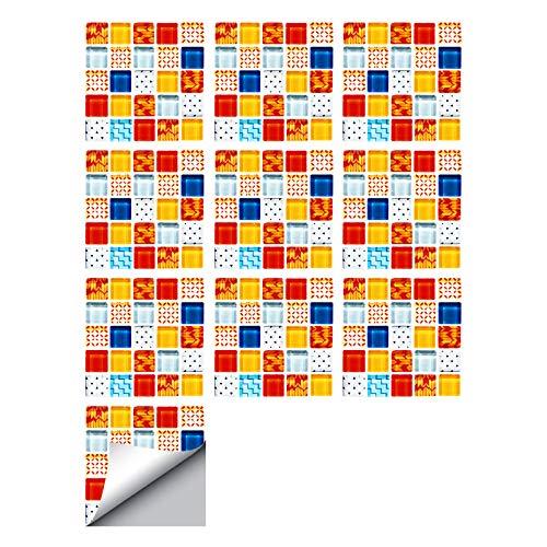 decalmile 10 Piezas Pegatinas de Azulejos 15x15cm Mosaico Colorido Adhesivo Decorativo para Azulejos Cocina Baño Decoración