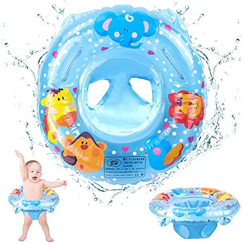 Winthai Flotador Bebe, Flotadores para Bebes, Anillo de Natación Inflable, Flotador para Niños con Asiento y Dos manijas, Flotadores Piscina para 6-36 Meses para bebés de 6-36 Meses(Azul)