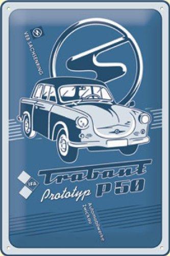 Trabant Prototyp P50 Blechschild, 20 x 30 cm
