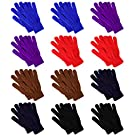 12 Pairs Winter Knit Gloves,Magic Gloves,Driving Gloves, Stylish Men Women Soft Stretchy and Warm Bulk Pack Glove Gift