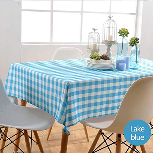 Nappe de tablePetite nappe carrée Tissu de table à manger en polyester imperméable et résistant à l'huile,lakeblue,130cm*180cm