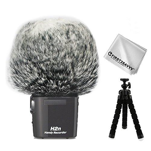 FIRST2SAVVV Nero Microfono Parabrezza Copertura Antivento Shell Cuffia Antivento in Pelliccia Sintetica per Microfoni a Fucile per Zoom H2n con pezza per Pulire + Mini treppiede TM-DM-H2N-F01TZ3