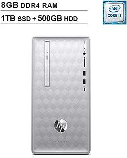 HP 2019 Pavilion 590 Desktop (Intel Quad Core i3-8100 3.6 GHz, 8GB DDR4 RAM, 1TB SSD (Boot) + 500GB HDD SSD, Intel UHD Graphics 630, Bluetooth, HDMI, DVD, Windows 10 Home) (Renewed)