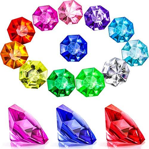 Acryl Diamant Edelsteine Juwelen Piraten Edelsteine Set Schatz Juwelen Truhenjagd Gastgeschenke, 25 Karat Mehrfarbige Acryl Große Edelsteine (45 Stücke)