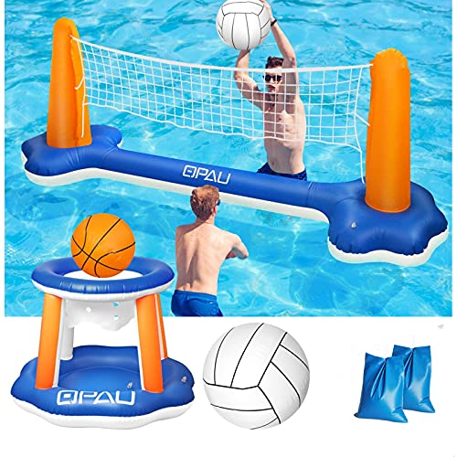QPAU Inflatable Pool Float Set, Basketball Hoop and Volleyball Net, Swimming Game Pool Toys for Kids and Adults