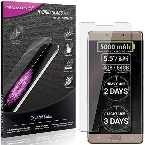 SWIDO Panzerglas Schutzfolie kompatibel mit Allview P9 Energy Bildschirmschutz-Folie & Glas = biegsames HYBRIDGLAS, splitterfrei, Anti-Fingerprint KLAR - HD-Clear
