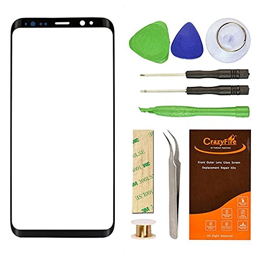 CrazyFire Compatible with Samsung Galaxy S8 G950 Front Lens Glass Screen Replacement with Tools Kit and Adhesive for S8 G950U G950F 5.8 inch(Black)