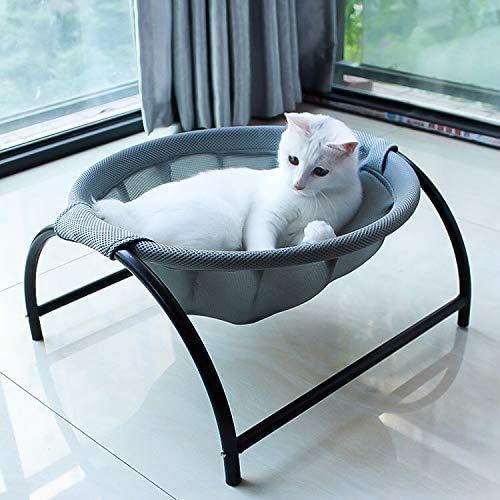 Letto per gatti per cani e animali domestici, amaca per gatti e gatti, disponibile in tutta la struttura, rimovibile, ottima traspirabilità, facile da montare, per interni ed esterni (grigio)