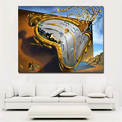 nr Moderne abstracte kunst klok van Salvador Dali canvas gedrukt kunst schilderij wandschilderijen voor woonkamer wooncultuur 50 x 65 cm zonder lijst