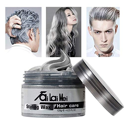Temporary Silver Gray Hair Wax 4.23oz, Instant Hairstyle Mud Cream, Hair Pomades for Party, Cosplay, Nightclub, Masquerade, Halloween.
