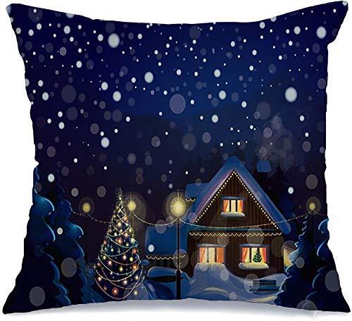 Decoración Throw Pillow Cover Funda de cojín Blue Eve Wonderland Paisaje de invierno Celebración Feliz Navidad Casa Árbol de nieve Año Noche Hogar Funda de Cojine 45 X 45CM