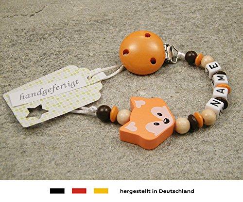 Baby SCHNULLERKETTE mit NAMEN - Schnullerhalter mit Wunschnamen - Mädchen Jungen Motiv Fuchs in orange