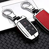 ontto Compatible with Land Rover Key Fob Cover Keyless Prevent Scratches Metal Leather Key Protector Skin Shell Keychain Fit for Range Rover Sport Dsicovery LR4 Red