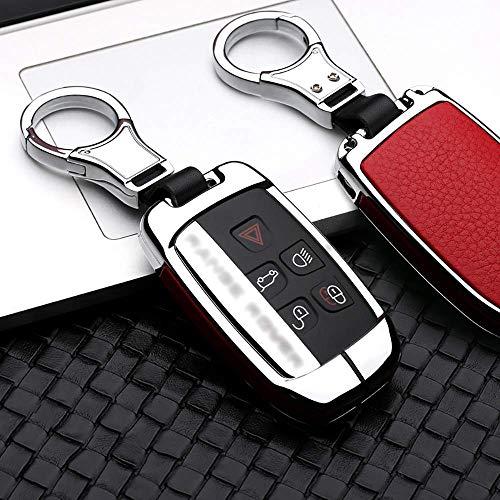 ontto Coque de clé de Voiture en Alliage de Zinc pour Land Rover Range Rover Sport Evoque 4 Discovery Sport 2 Jaguar avec Porte-clés Argent Rouge