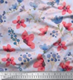 Soimoi Blau Viskose Chiffon Stoff Blume & Blätter Aquarell