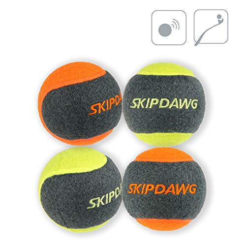 SKIPDAWG Dog Tennis Balls Squeak, Launcher Compatible Tennis Balls Dog Toy Non-Toxic Rubber/Felt Material, Outdoor Dog Catching Ball/Bouncy Ball Dog Toy Diameter 2.5 Inches, 4 Pack