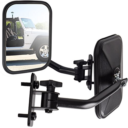 Side Mirror Best for 1997-2018 Jeep Wrangler (Set of 2)(Driver & Passenger Side) Quick Release with Adjustable Arms - Rectangular, Black