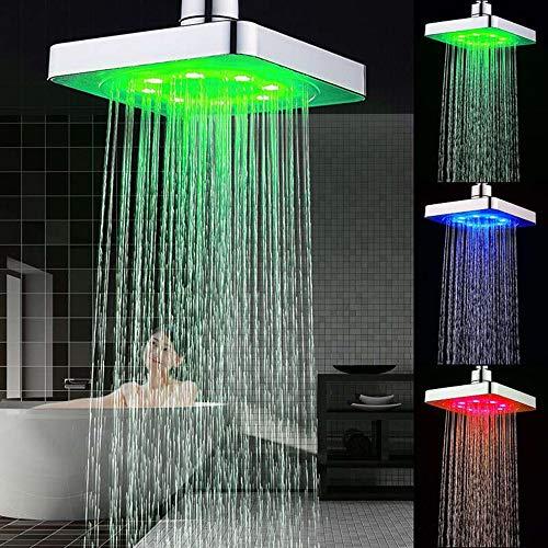 LED Soffione doccia, 6 pollici Soffione quadrato controllo della temperatura 3 colore cambiando flusso d'acqua alimentato