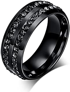 LEEYA NL10 Mens Womens 8MM Titanium Stainless Steel High Polished 18K Gold Plated Channel Set Cubic Zirconia CZ Promise Engagement Band Unisex Gold Wedding Ring Comfort Fit, Size 6-13 (10, Black)