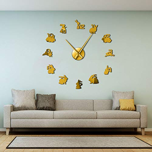 Bunny Mirror Sticker Numbers Rabbit Family Large Wall Clocks Animal Hanging Clock Silent Quartz Wall Watch Woodland Nursery Decor (Oro,47 Pulgadas) Reloj de Vinilo, Reloj de Pared de Vinilo, Reloj de