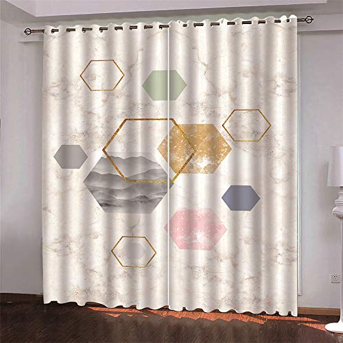 MMHJS 3D Blackout Curtains Digital Printing Curtain 2 Pieces Of Curtains Suitable For Bedroom, Living Room And Balcony