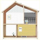 Limmaland Puppenhaus Tapete für IKEA FLISAT Holz Puppenhaus (Farbe Senf/Mint) - Möbel Nicht...
