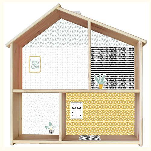 Limmaland Puppenhaus Tapete für IKEA FLISAT Holz Puppenhaus (Farbe Senf/Mint) - Möbel Nicht inklusive