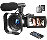 """4K Video Camera Camcorder Vlogging Camera YouTube Camera Recorder Ultra HD 30MP 3.0"""" Touch Screen with Lens Hood & Microphone & 2 Batteries"""