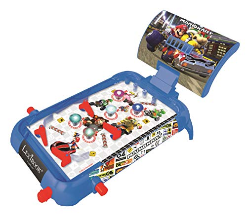 Lexibook JG610NI Nintendo Mario Kart elektronisches Flipperspiel, Action-und Reflexspiel für Kinder und Familien, LCD-Bildschirm, Licht-und Soundeffekte, blau/rot