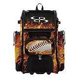 Boombah Catchers Superpack Hybrid Rolling Bat Bag - Fireball Black/Orange/White - Wheeled & Backpack Version
