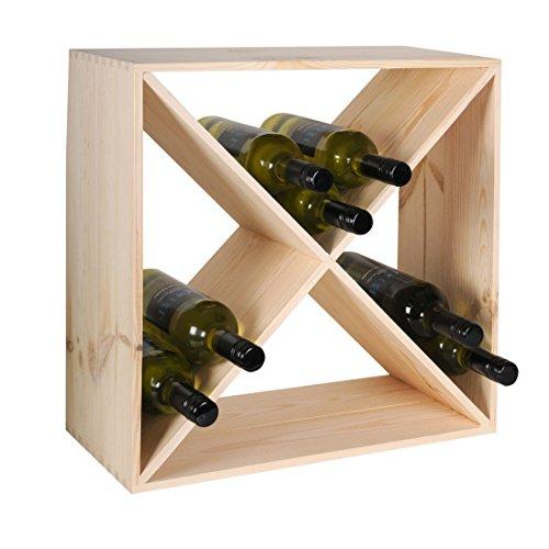 Weinregal/Flaschenregal System CUBE 48, Holz Kiefer Natur, stapelbar/erweiterbar - H 48 x B 48 x T 23,5 cm