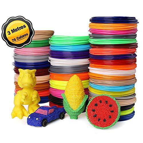 Filamentos PLA para Pluma 3D, 26 Colores 3M 1.75MM para Lapiz 3D PLA Materiales 10 Feet Filament Refills for 3D Pen Lapiz 3D No Tóxico, Seguro, Apto para Adultos y Niños(Color Al Azar)