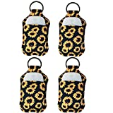 4 Piece Hand Sanitizer Bottle Holder Keyring-Ranxizy Neoprene Keychain for 30ML Gym Shampoo Lotion Soap Perfume and Liquids Travel Containers,Black Sunflower