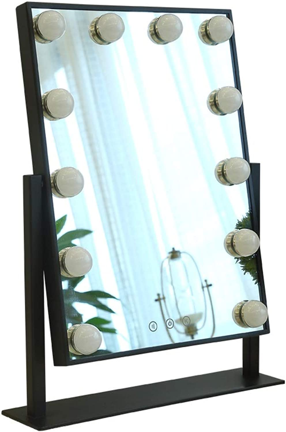 Makeup Mirrors Vanity Mirror with LED Lights Kit for Makeup Dressing Table   Hollywood Style Makeup Mirror LED Lights with 9 12 Dimmable Light Bulbs (Black) Bathroom Furniture (Size   Large)