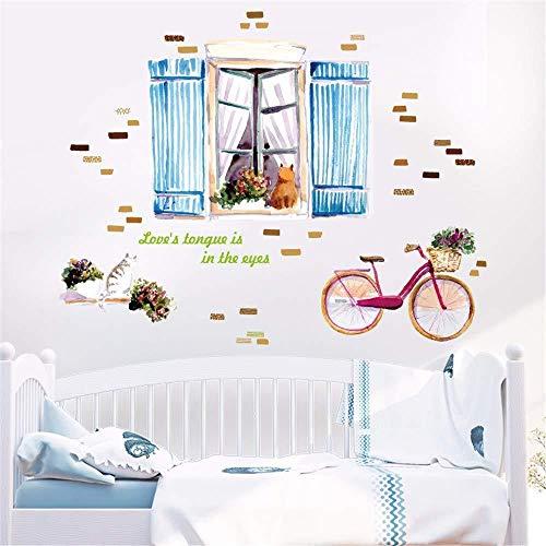 DIY Cartoon Fiets Verwijderbare Muursticker Familie Huisdecoratie Muursticker Muurschildering Kunststof PVC Huisdecoratie 60 X 90 cm