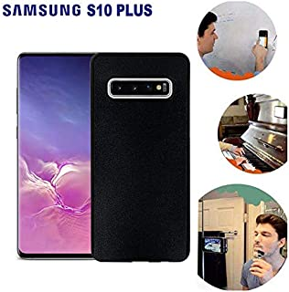 Wingcases for Samsung Galaxy S10 Plus Case, Anti Gravity Black Case Magic Nano Sticky Case for Galaxy S10 Plus Suction Stick on The Smooth Surface Mirror Screen Wall Selfie Case with Dust Proof Film