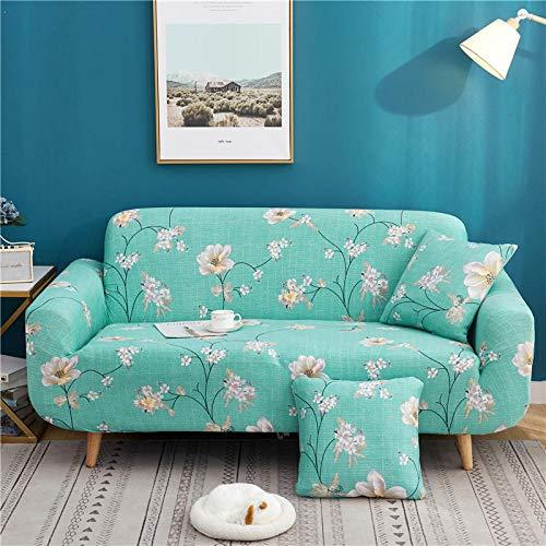 AKTYGB Funda para Sofá Elasticas de 4Plazas- 3D Lmpresión Fundas Decorativas para Sofás(Gratis 2 Funda de Cojines) Universal Muebles Fundas Decorativas para Sofás - Flores De Color Verde Claro