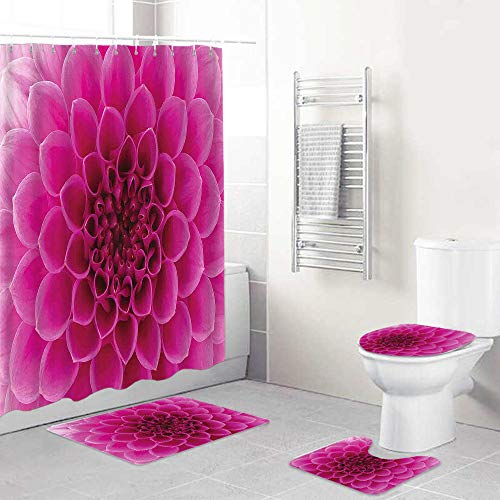 LONSANT Duschvorhang Set,Nahaufnahme Blütenblätter Blümchen Naturschönheit Duft Botanik Blüte Frisch,Rutschfesten Teppichen Toilettendeckel & Badematte Wasserdichter Duschvorhang für mit 12 Haken