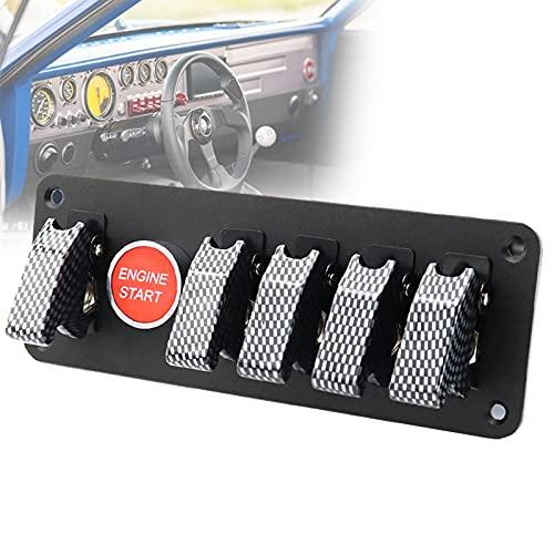 FRIBLSKEL Panel Interruptores Basculantes Anti-UV Interruptor Botón Encendido Motor Universal Modificación Carreras con Relé, Cable, Tornillo para Barco Camionescampista,Gris