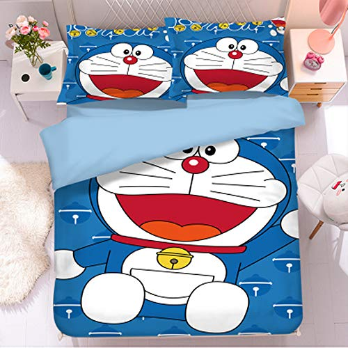 Funda nordica Cama,Doraemon Tema Funda edredon,Funda nórdica Cama 200x200cm,Cómoda Funda nórdica de Microfibra para niños