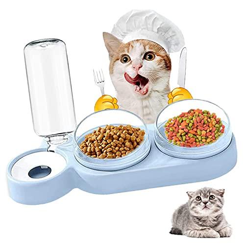 Cuenco del Gato Doble Tazón, 3 en 1 Cuenco del Gato Doble Tazón, 15°Inclinación Tazón de Alimentación para Gatos, Cuenco para Comer con Botella de Agua dispensador de Agua, para Gatos Perros (Azul)