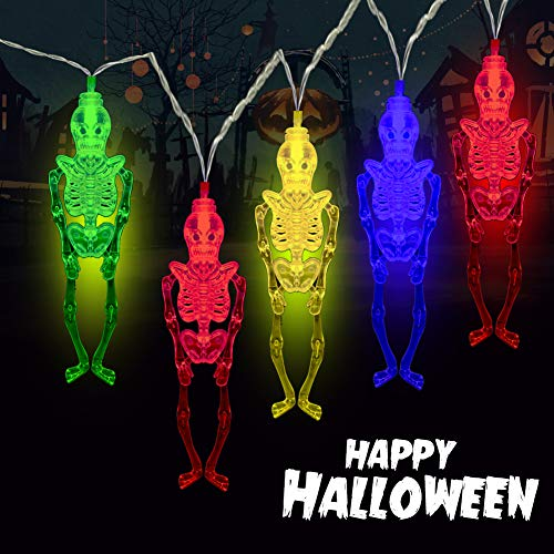 MILEXING Halloween String Lights, 20 LED 9.84ft Skull Skeleton Lights with Flash/Stable Mode, Battery Operated Portable Colorful Skeleton Lights for Indoor&Outdoor Halloween Decorations