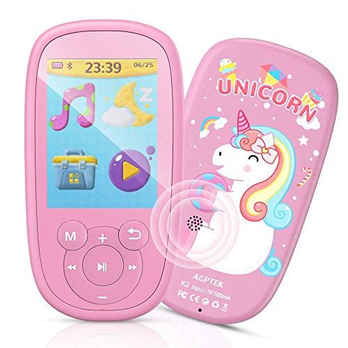 """Bluetooth MP3 Player Kinder, AGPTEK Einhorn Video Player 2,4"""" Bildschirm, Musik Player mit Lautsprecher, Kopfhörer, Wiegenlied, UKW-Radio, Schlaftimer und Sprachaufnahme usw. Pink"""