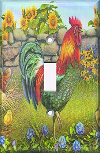 SnazzySwitch Decorative Light Switch Plate Cover - Rooster And Sunflowers