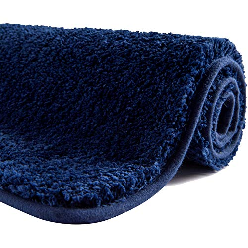 SFLXO Badematte 120cm x 70cm rutschfest-Badvorleger Maschinenwaschbar Anti-Rutsch Badteppich Weich Wasserabsorbierende Badematten Flauschige Mikrofaser Badezimmerteppich Marineblau Mehrweg