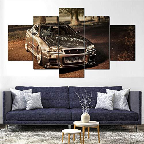 SHENQI-5 Piezas Lienzo para Pintar- Póster GTR R34 Car Wall Art -Modernos...