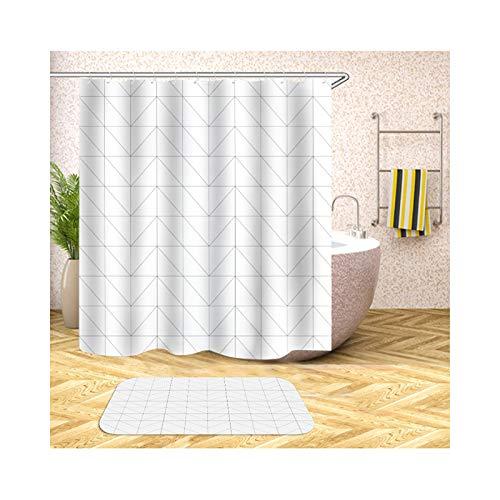 AmDxD Duschvorhang Badezimmerteppiche Set aus Polyester| 3D-Druck Köper Gitter Muster Design Bad Vorhang Badezimmerteppich | Bunt | mit 12 Duschvorhangringen für Badewanne Badezimmer - 180x180CM